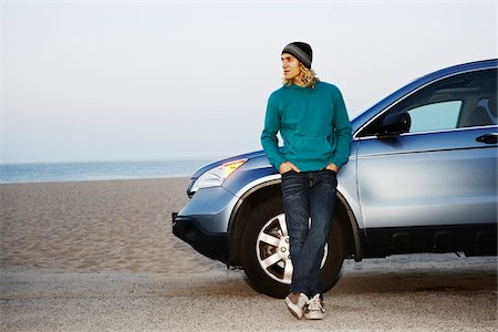 peter griffith - Man with Car at Beach Stock Photo - Rights-Managed, Code: 700-05451045