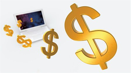 Dollar Signs and Laptop Computer Stock Photo - Rights-Managed, Code: 700-05452102