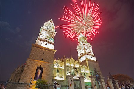 fireworks - Fireworks over Cathedral of Morelia, Morelia, Mexico Stock Photo - Rights-Managed, Code: 700-05452196