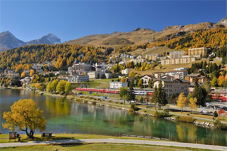 fall trees lake - St. Moritz in Autumn, Engadine Valley, Canton of Graubunden, Switzerland Stock Photo - Rights-Managed, Code: 700-05524294
