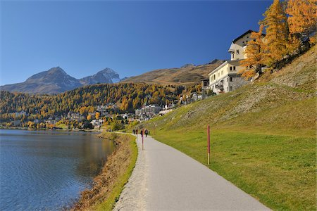 european hillside town - Walking Path alongside Lake, St. Moritz in Autumn, Engadine Valley, Canton of Graubunden, Switzerland Stock Photo - Rights-Managed, Code: 700-05524295