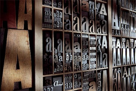 Upper and Lower Case Letterpresses Stock Photo - Rights-Managed, Code: 700-05524387