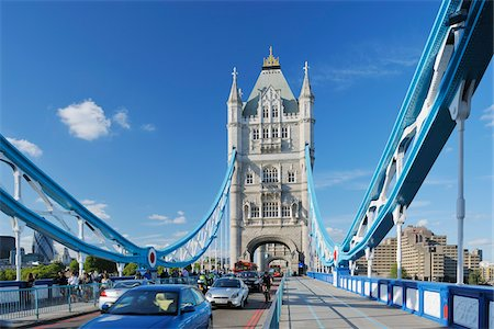 Tower Bridge with Traffic, London, England Stock Photo - Rights-Managed, Code: 700-05524559