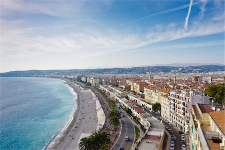 french (places and things) - Overview of Beach and City from Colline du Chateau, Nice, Cote d'Azur, France Stock Photo - Rights-Managed, Code: 700-05560334