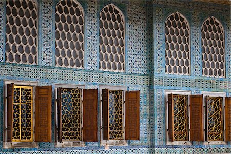 Deatil of Windows in Imperial Harem, Topkapi Palace, Istanbul, Turkey Stock Photo - Rights-Managed, Code: 700-05609510