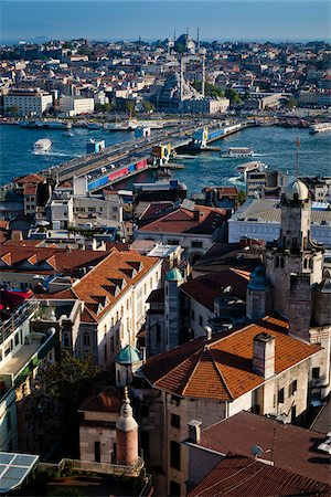 Overview of Galata Bridge over the Golden Horn, as seen from Beyoglu Distrist, Istanbul, Turkey Stock Photo - Rights-Managed, Code: 700-05609554
