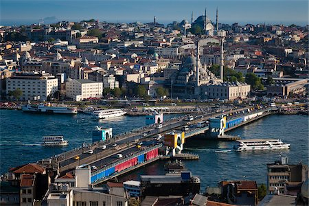 Overview of Galata Bridge over the Golden Horn, as seen from Beyoglu Distrist, Istanbul, Turkey Stock Photo - Rights-Managed, Code: 700-05609553