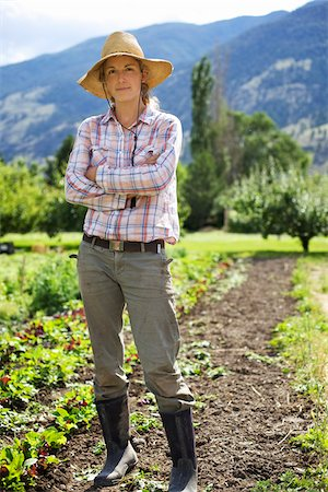 farmhand (female) - Portrait of Farmer on Organic Farm Stock Photo - Rights-Managed, Code: 700-05602723