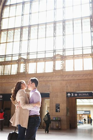 Couple Kissing in Train Station Stock Photo - Rights-Managed, Code: 700-05641787
