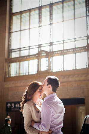 Couple Kissing in Train Station Stock Photo - Rights-Managed, Code: 700-05641788