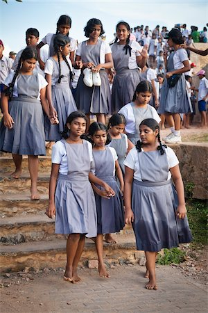 school girl uniforms - Schoolgirls Touring Galle Fort, Galle, Sri Lanka Stock Photo - Rights-Managed, Code: 700-05642126