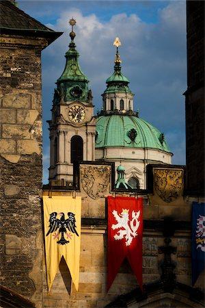 pennant flag - Bridge Tower and St. Nicholas Church, Mala Strana, Prague, Czech Republic Stock Photo - Rights-Managed, Code: 700-05642407