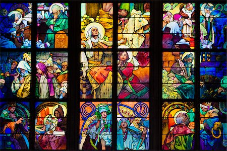 story - Stained Glass Window, St. Vitus Cathedral, Prague Castle, Prague, Czech Republic Stock Photo - Rights-Managed, Code: 700-05642435