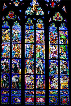 Stained Glass Window, St. Vitus Cathedral, Prague Castle, Prague, Czech Republic Stock Photo - Rights-Managed, Code: 700-05642436