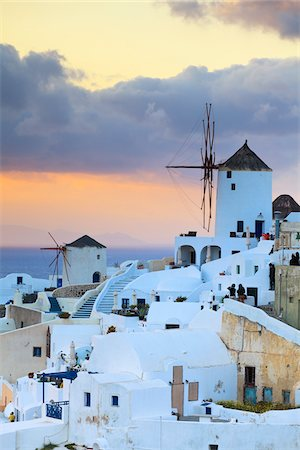 Windmills at Sunset, Oia, Santorini Island, Greece Stock Photo - Rights-Managed, Code: 700-05653114