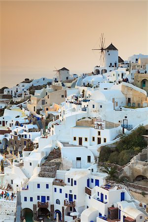 View of Oia at Sunset, Santorini Island, Greece Stock Photo - Rights-Managed, Code: 700-05653112