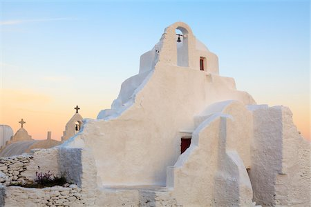 Church of Panagia Paraportiani at Dawn, Chora, Mykonos Town, Mykonos, Cyclades Islands, Greece Stock Photo - Rights-Managed, Code: 700-05653134