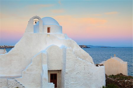 Church of Panagia Paraportiani at Dawn, Chora, Mykonos Town, Mykonos, Cyclades Islands, Greece Stock Photo - Rights-Managed, Code: 700-05653132