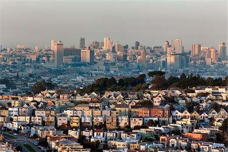 Residential Neighbourhood and City Skyline, San Francisco, California, USA Stock Photo - Rights-Managed, Code: 700-05653151