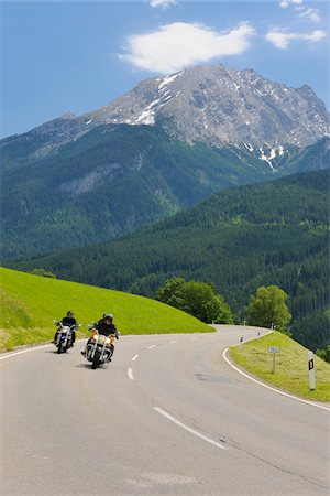 Motorcyclists on Deutsche Alpenstrasse in front of Watzmann Mountain, Berchtesgaden, Upper Bavaira, Germany Stock Photo - Rights-Managed, Code: 700-05762057