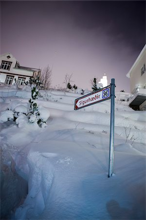 small town snow - Directional Sign Pointing Towards Sigurhaedir, Akureyri, Iceland Stock Photo - Rights-Managed, Code: 700-05762109