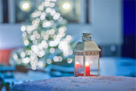 Candle Lantern Outdoors in front of Christmas Tree Stock Photo - Rights-Managed, Code: 700-05762114