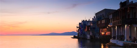 Little Venice by Aegian Sea at Sunset, Mykonos, Greece Stock Photo - Rights-Managed, Code: 700-05786253