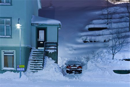 small town snow - Winter Scene, Akureyri, Iceland Stock Photo - Rights-Managed, Code: 700-05786291