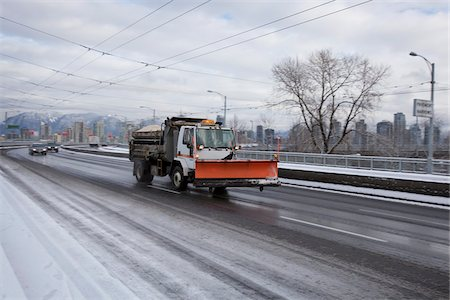 snow plow truck - Vehicles on Granville Street Bridge in Winter, Vancouver, British Columbia, Canada Stock Photo - Rights-Managed, Code: 700-05786363