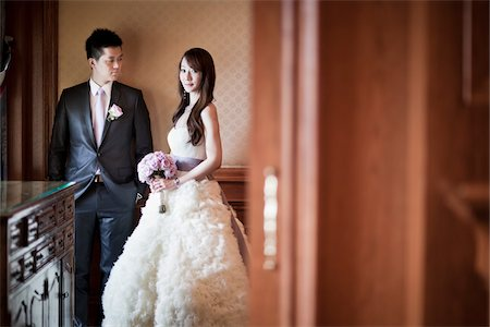 Bride and Groom Indoors Stock Photo - Rights-Managed, Code: 700-05786463