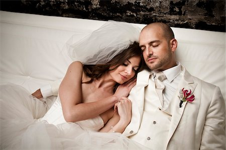 Bride and Groom Cuddling Stock Photo - Rights-Managed, Code: 700-05786475