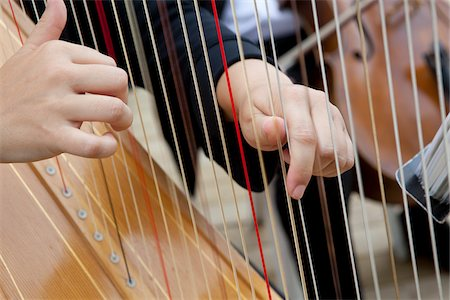 Close-Up of Harp Player's Hands Stock Photo - Rights-Managed, Code: 700-05786587