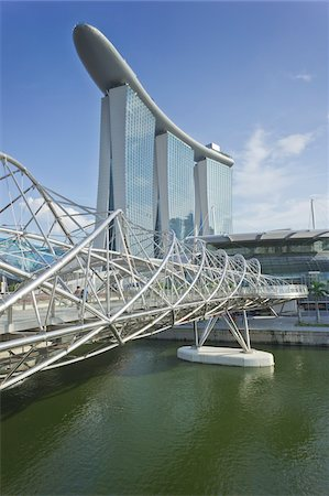 Helix Bridge and Marina Bay Sands, Singapore Stock Photo - Rights-Managed, Code: 700-05781029