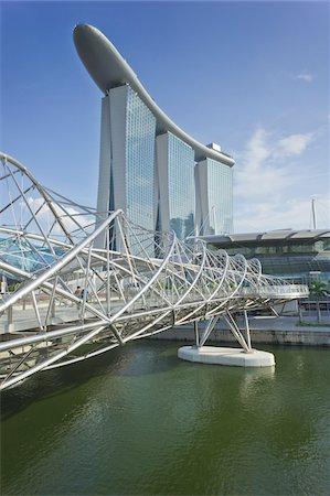 Helix Bridge and Marina Bay Sands, Singapore Stock Photo - Rights-Managed, Code: 700-05781029