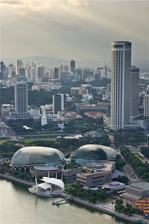 Esplanade Theater Singapore and City, Singapore Stock Photo - Rights-Managed, Code: 700-05781037