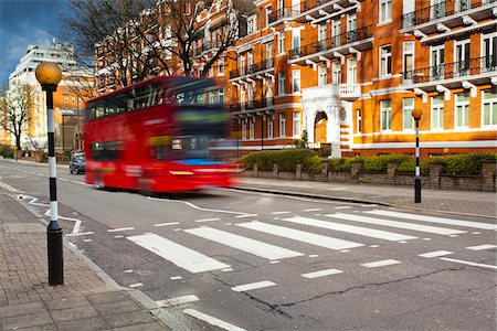 Double-Decker Bus and Abbey Road Crossing, Westminster, London, England Stock Photo - Rights-Managed, Code: 700-05803175