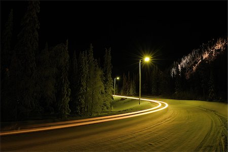 Snow Covered Road at Night, Ruka, Kuusamo, Northern Ostrobothnia, Finland Stock Photo - Rights-Managed, Code: 700-05803217