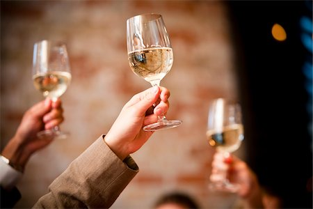 Toasting with White Wine Stock Photo - Rights-Managed, Code: 700-05803290