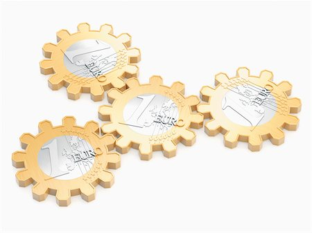 Euros in Shape of Cog Wheels Stock Photo - Rights-Managed, Code: 700-05803434
