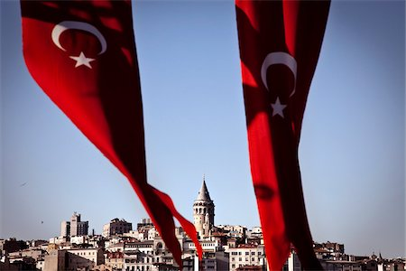 Galata Tower and Country Flags, Istanbul, Turkey Stock Photo - Rights-Managed, Code: 700-05803491