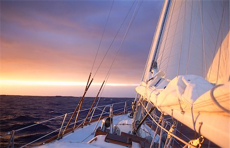 sailboat  ocean - Yacht at Sunrise Stock Photo - Rights-Managed, Code: 700-05803590