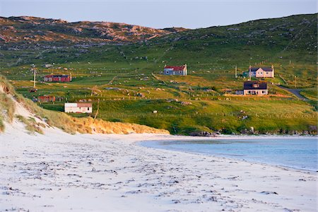 european hillside town - Hillside Cottages Overlooking Beach, Isle of Harris, Outer Hebrides, Scotland Stock Photo - Rights-Managed, Code: 700-05803591