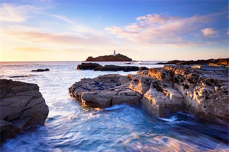 Rocky Coastline and Lighthouse, Godrevy Point, Cornwall, England Stock Photo - Rights-Managed, Code: 700-05803732