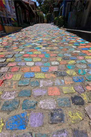 Colorful Cobblestone Street, Pipa, Rio Grande do Norte, Brazil Stock Photo - Rights-Managed, Code: 700-05821825