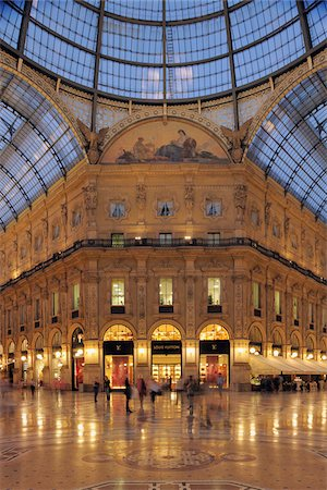 shopping mall - Glass Dome of the Galleria Vittorio Emanuele II, Milan, Lombardy, Italy Stock Photo - Rights-Managed, Code: 700-05821958