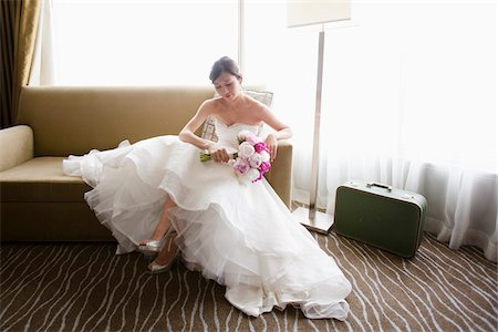 Bride Relaxing on Sofa Stock Photo - Rights-Managed, Code: 700-05837377