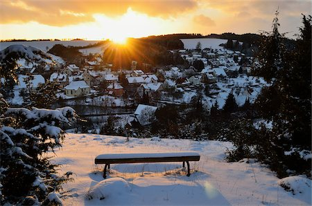 small town snow - View of Muehlhausen, Baden-Wurttemberg, Germany Stock Photo - Rights-Managed, Code: 700-05837478