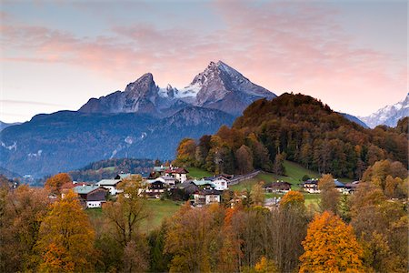 small town snow - Watzmann Mountain at Dawn, Berchtesgaden, Bavaria, Germany Stock Photo - Rights-Managed, Code: 700-05837534