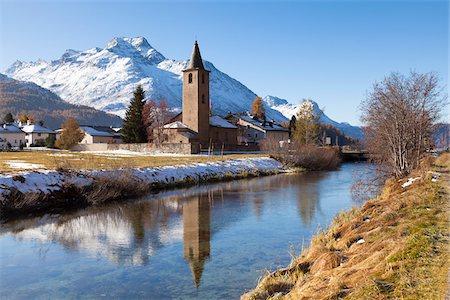 small town snow - St. Lorenz Church, Sils-Baselgia, Sils im Engadin, Graubunden, Switzerland Stock Photo - Rights-Managed, Code: 700-05837537
