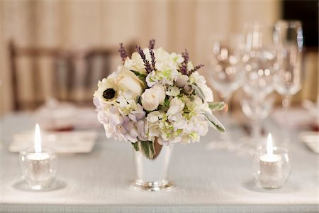 decorations - Flower Arrangement on Table Set for Wedding Reception Stock Photo - Rights-Managed, Code: 700-05855051